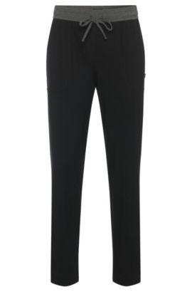 Pantalon de pyjama en coton mélangé doté d'une ceinture de couleur en contraste: «Long Pant CW», Noir