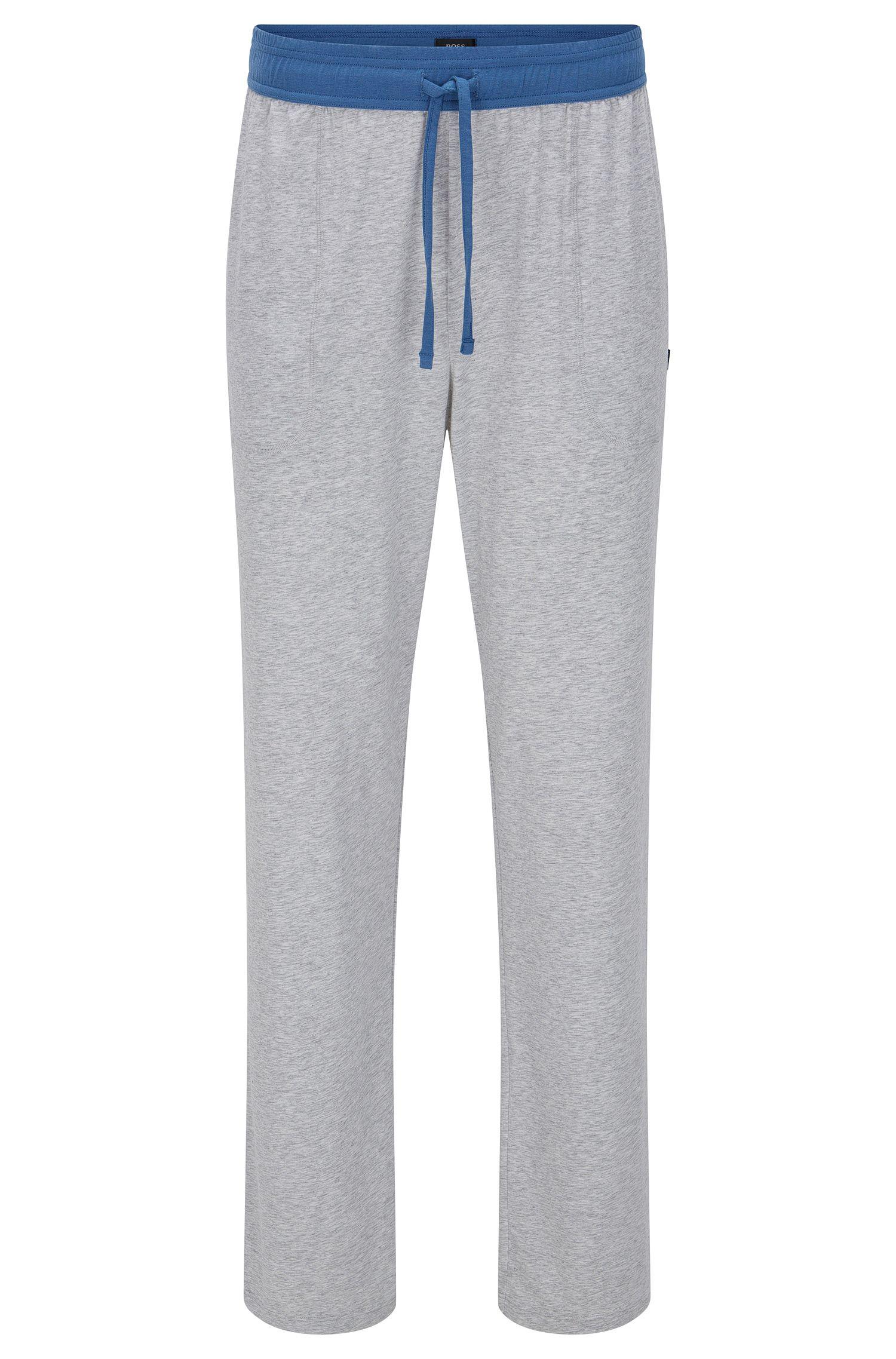 Pyjamabroek van een katoenmix met contrastkleurige band: 'Long Pant CW'