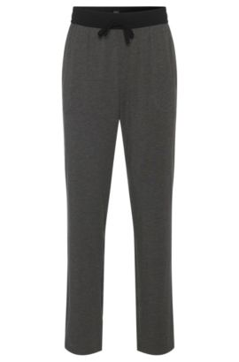 Pyjama bottoms in cotton blend with contrasting colour waistband: 'Long Pant CW', Grey