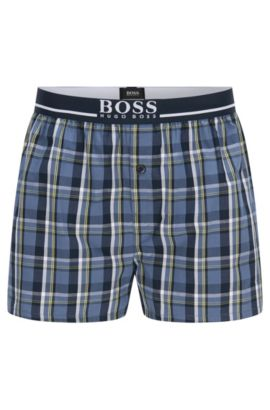 Checked regular-fit boxer shorts in cotton: 'Boxer Short EW', Blue