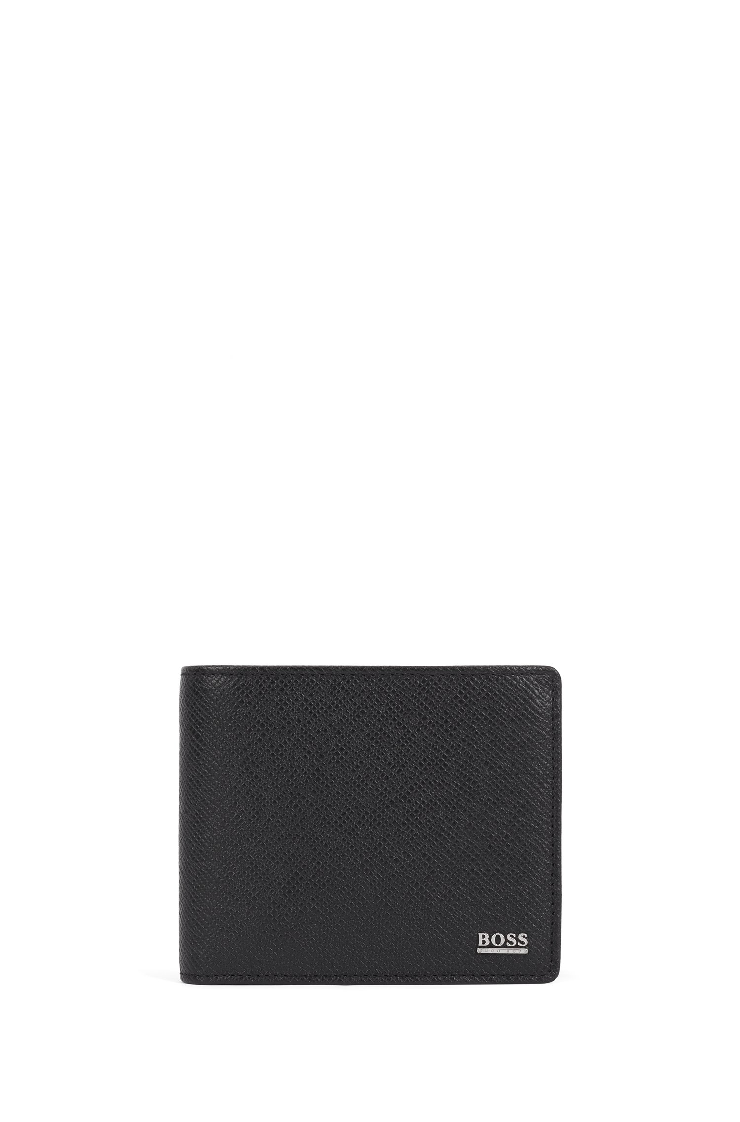 Signature Collection trifold wallet in palmellato leather with coin pocket, Black