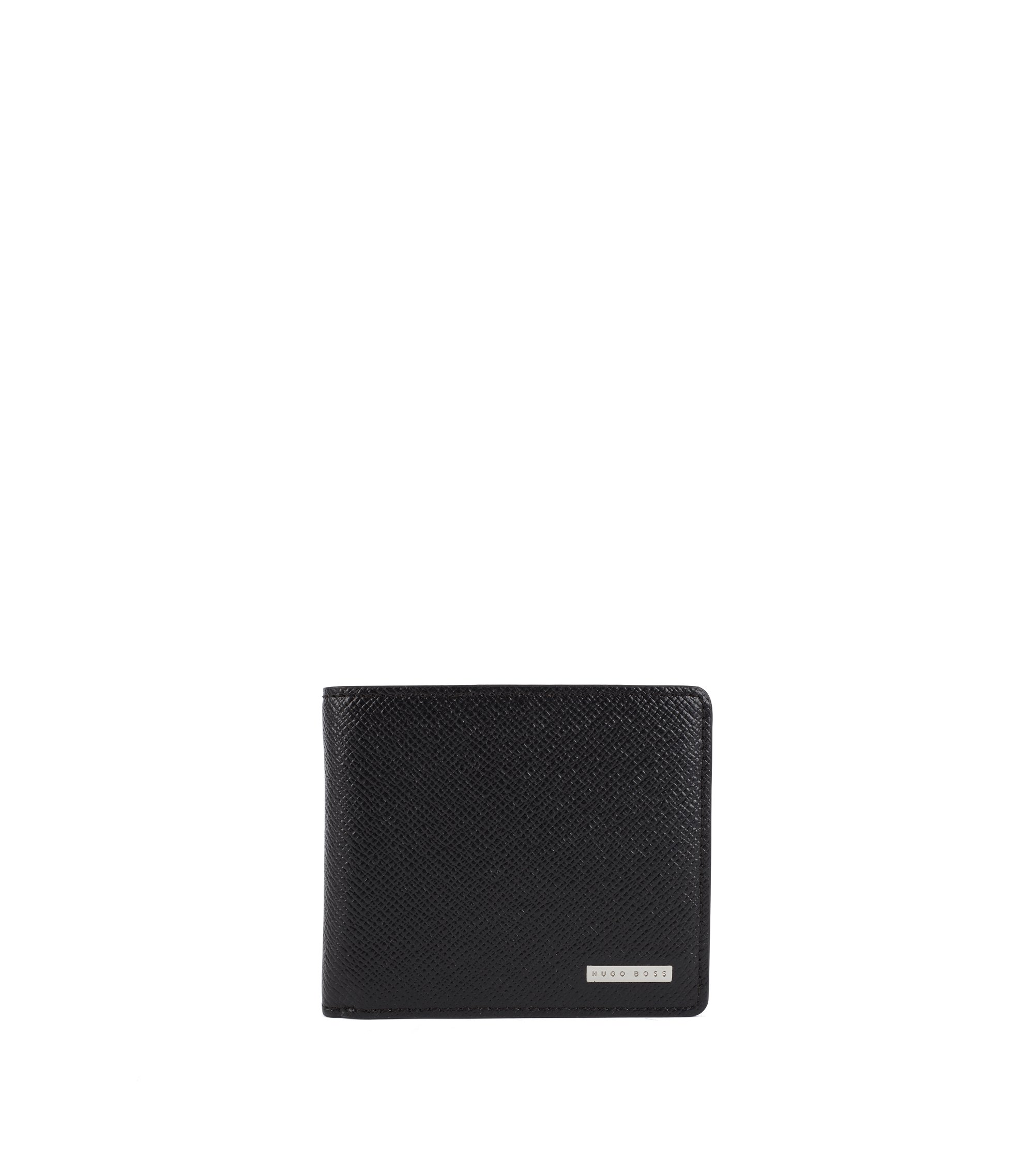 Signature Collection trifold wallet in textured leather by BOSS, Black
