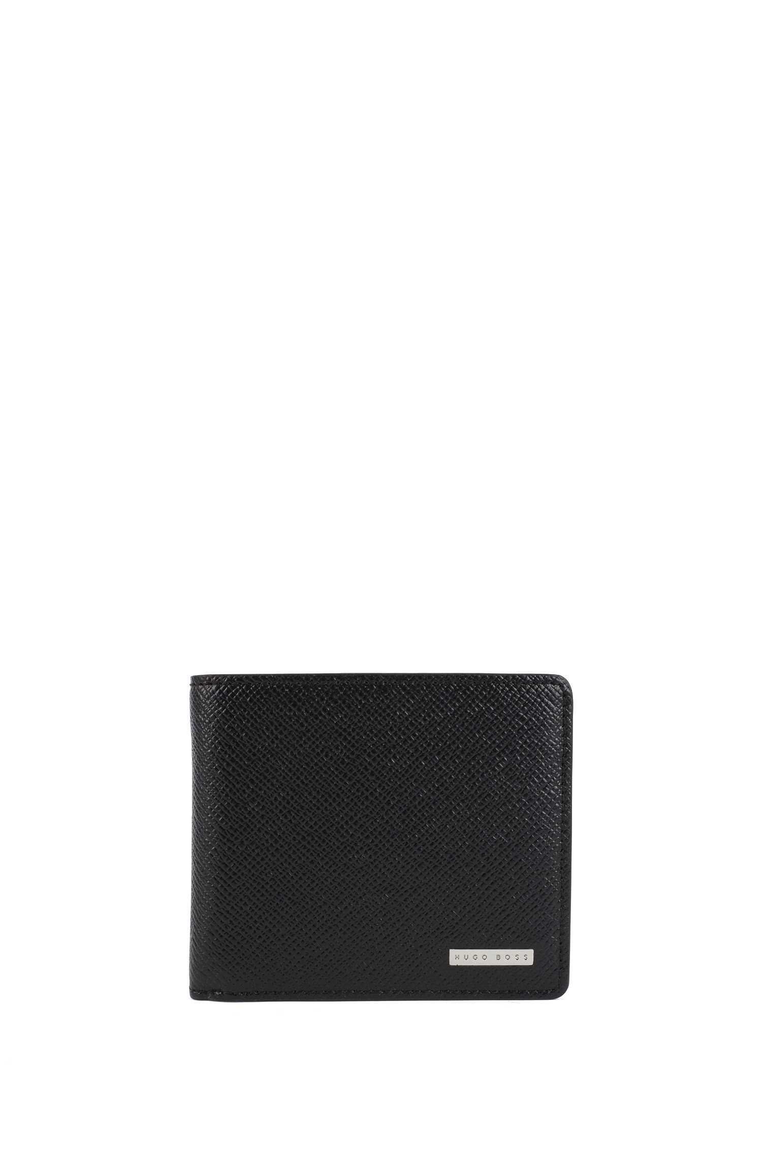 Portefeuille BOSS pliant à trois volets de la collection Signature, en cuir texturé
