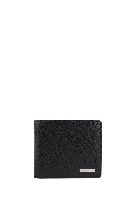 HUGO BOSS Portefeuille pliant à trois volets de la collection Signature, en cuir texturé