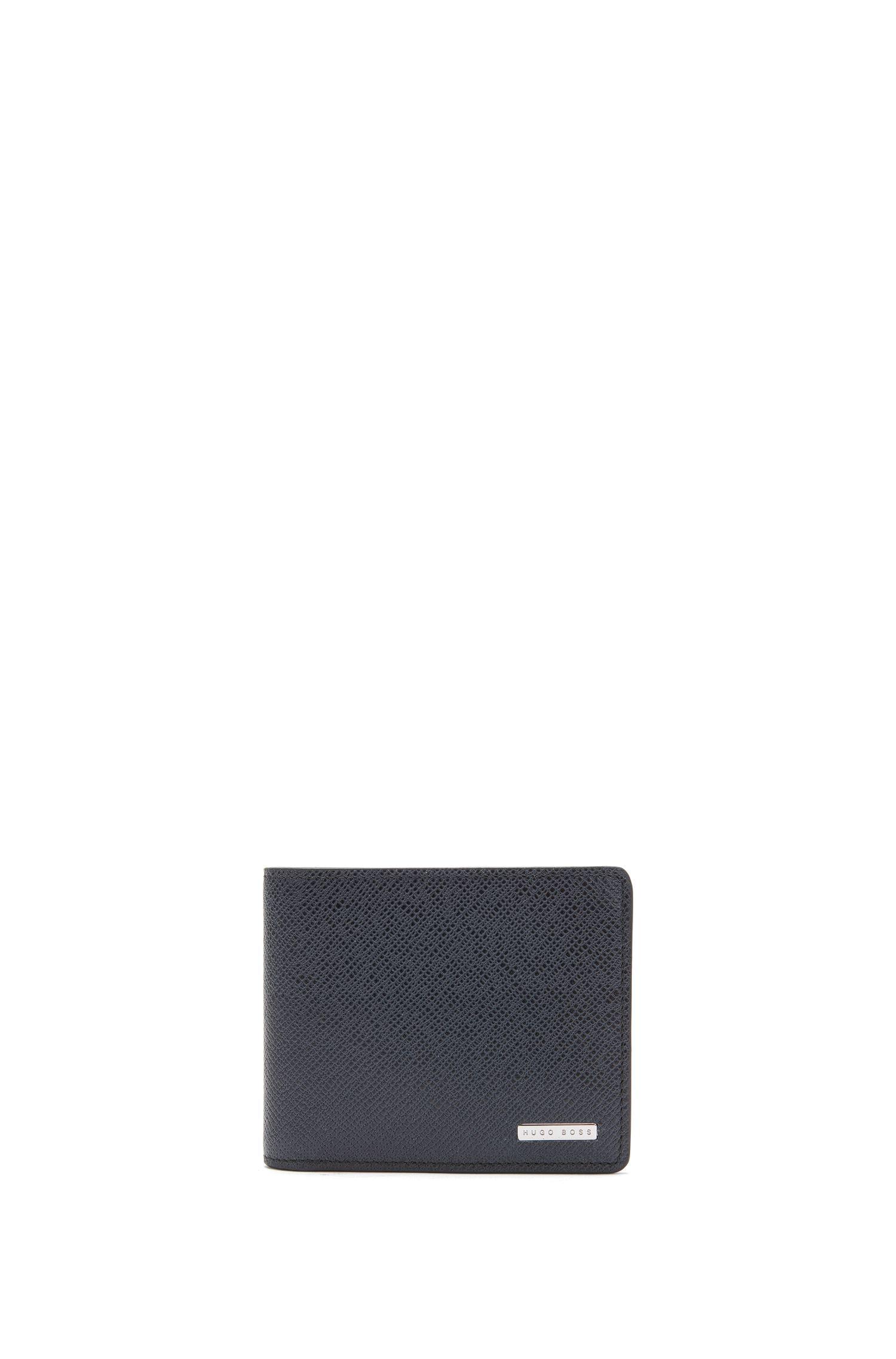 Tri-fold portefeuille van gestructureerd leer uit de Signature Collection van BOSS