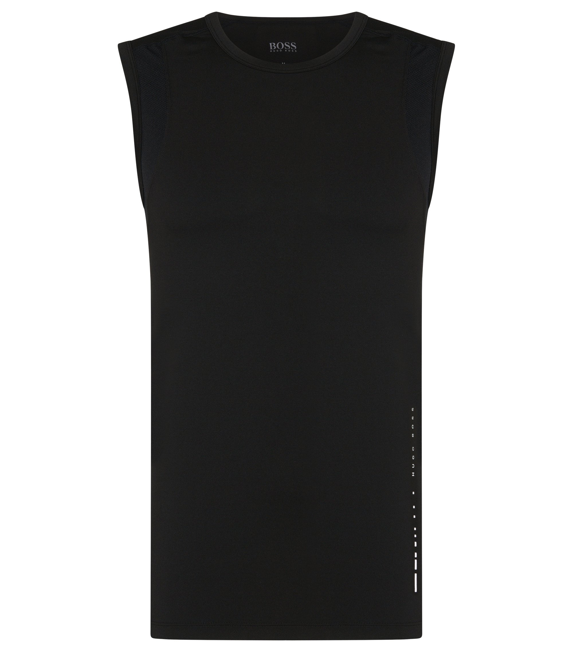 Sleeveless T-shirt in technical stretch fabric , Black