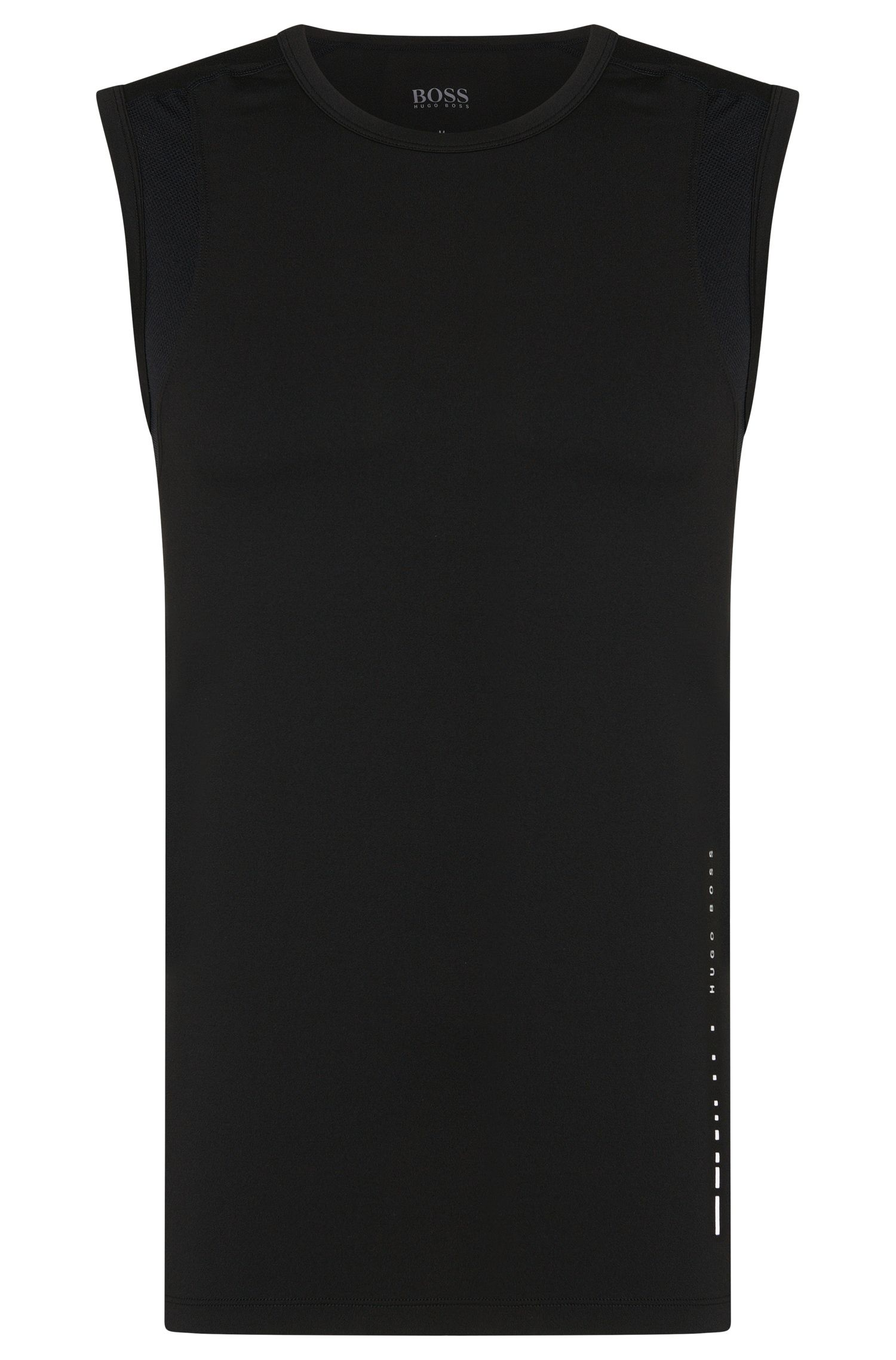 Sleeveless T-shirt in technical stretch fabric