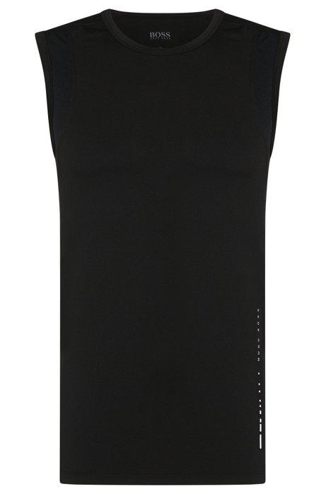 6a24b27a Sleeveless T-shirt in technical stretch fabric , Black
