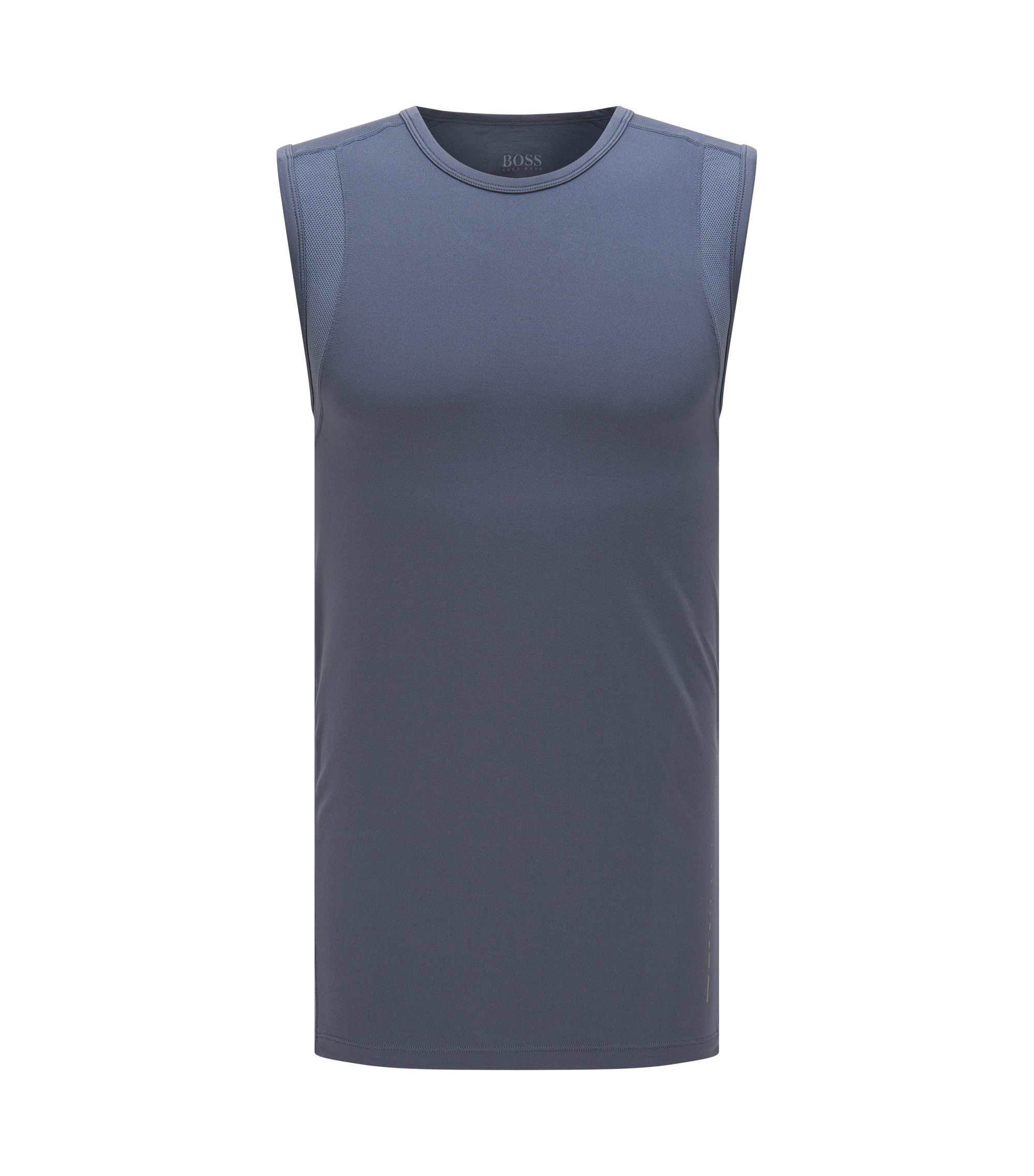 Sleeveless T-shirt in technical stretch fabric , Dark Grey