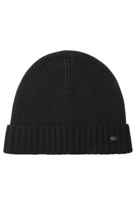 Beanie hat in virgin wool, Black