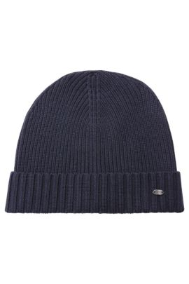 Beanie hat in virgin wool, Dark Blue