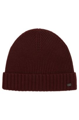 Beanie hat in virgin wool, Dark Red