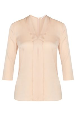 Plain blouse in stretch silk with panel: 'Ikarsi', Open Beige