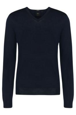 Regular-Fit Tailored Pullover aus Schurwolle: T-Bodo', Dunkelblau