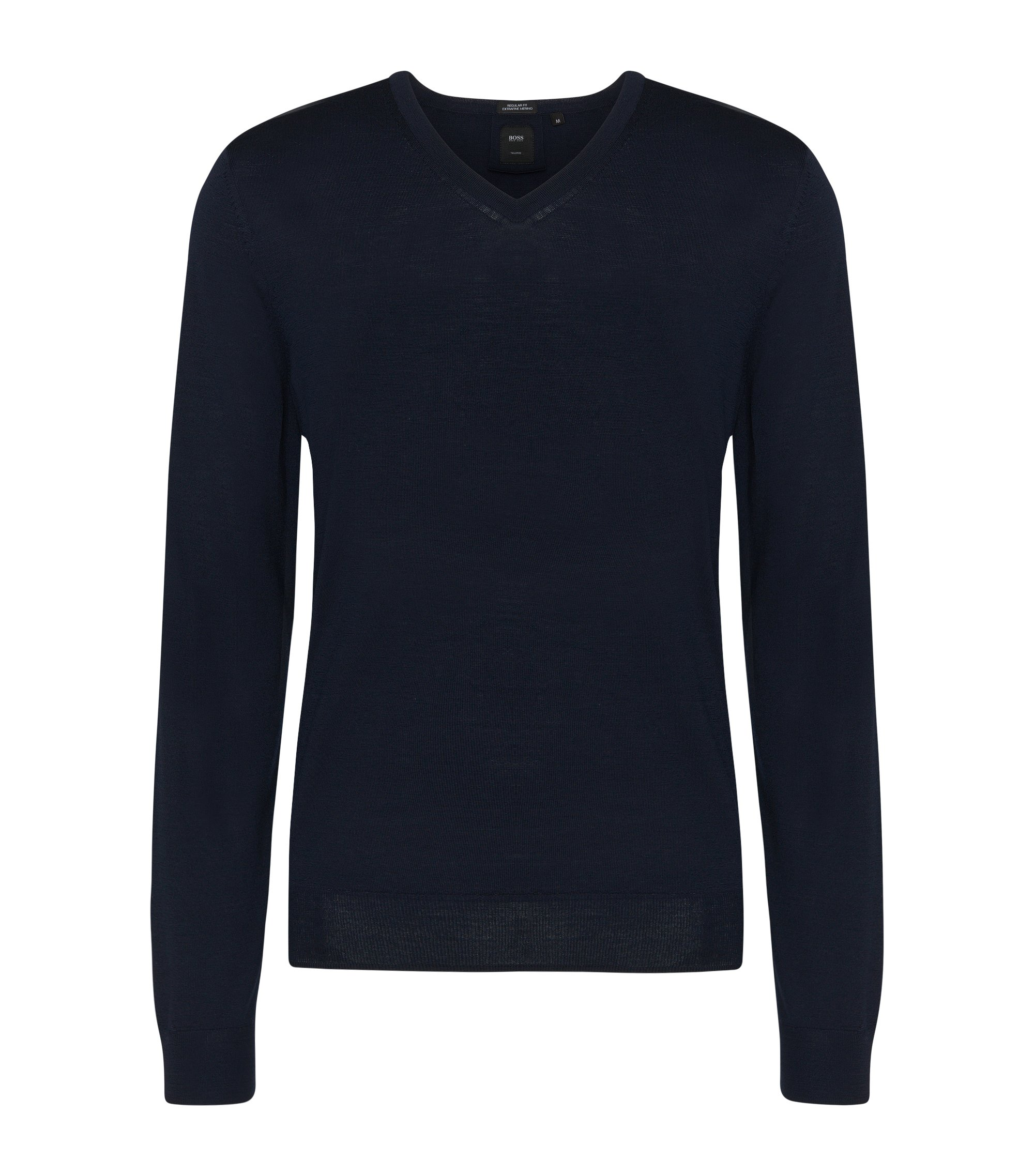 Regular-Fit Tailored Pullover aus Schurwolle: T-Bodo', Dunkelblau