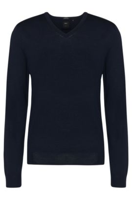 Maglione Tailored regular fit in lana vergine: 'T-Bodo', Blu scuro