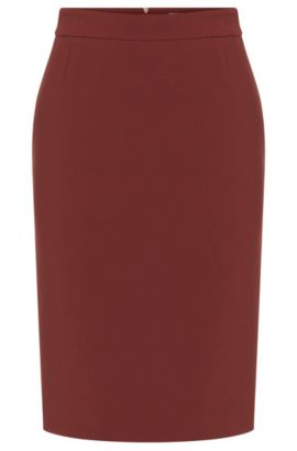 Plain skirt with back slit: 'Vilea1', Dark Red