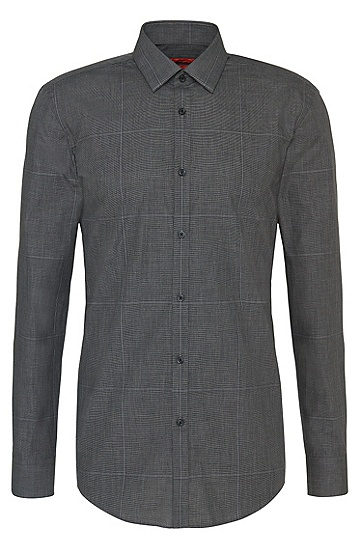 Slim-fit shirt in easy-iron cotton with check pattern: 'C-Jero', Anthracite