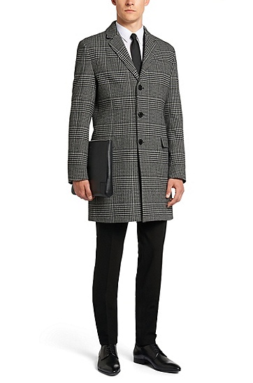 Regular-fit coat with houndstooth pattern: 'Migor2', Open White