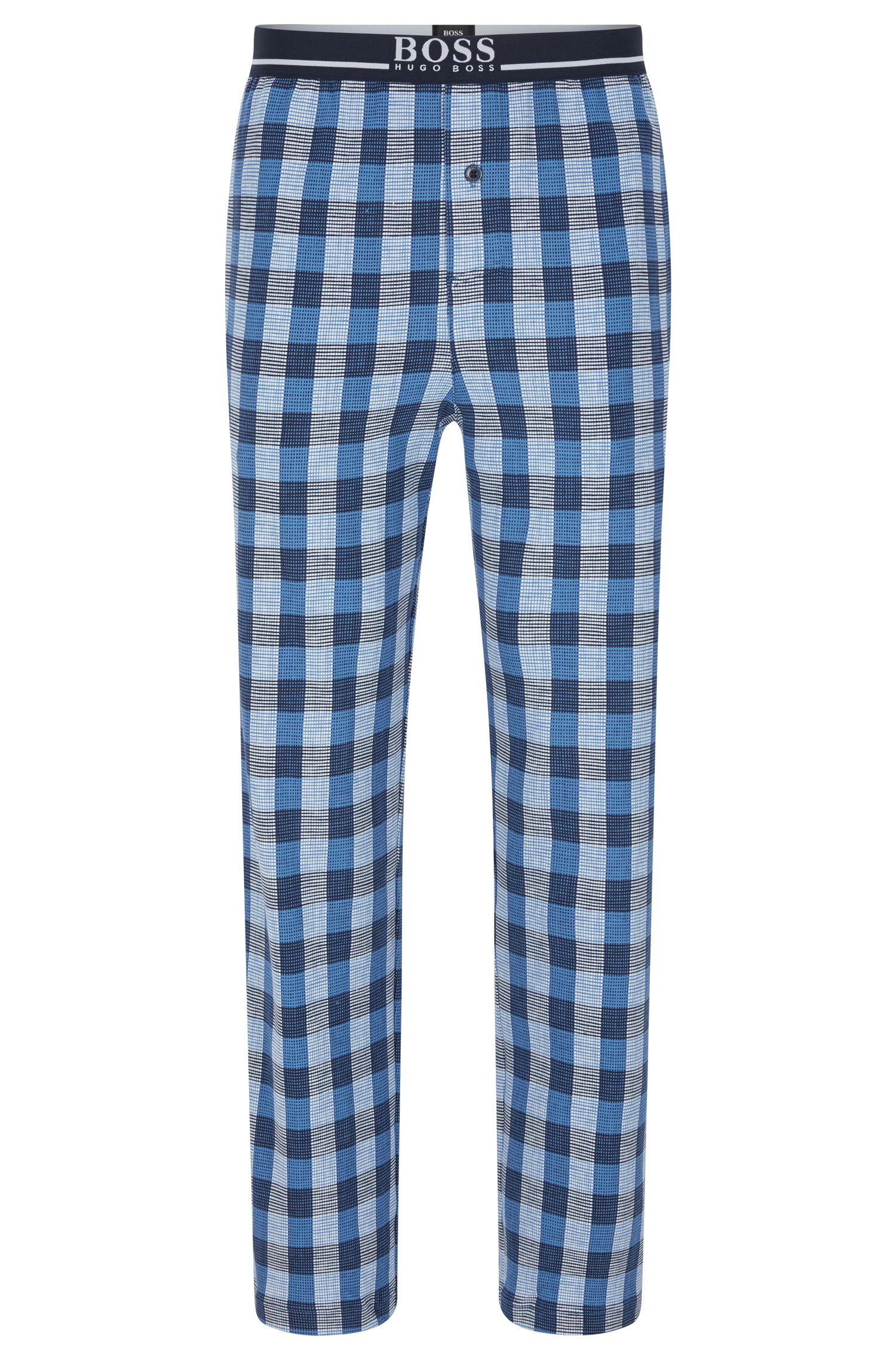 Checked pyjama bottoms in stretch cotton: 'Long Pant EW'