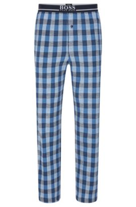 Checked pyjama bottoms in stretch cotton: 'Long Pant EW', Blue