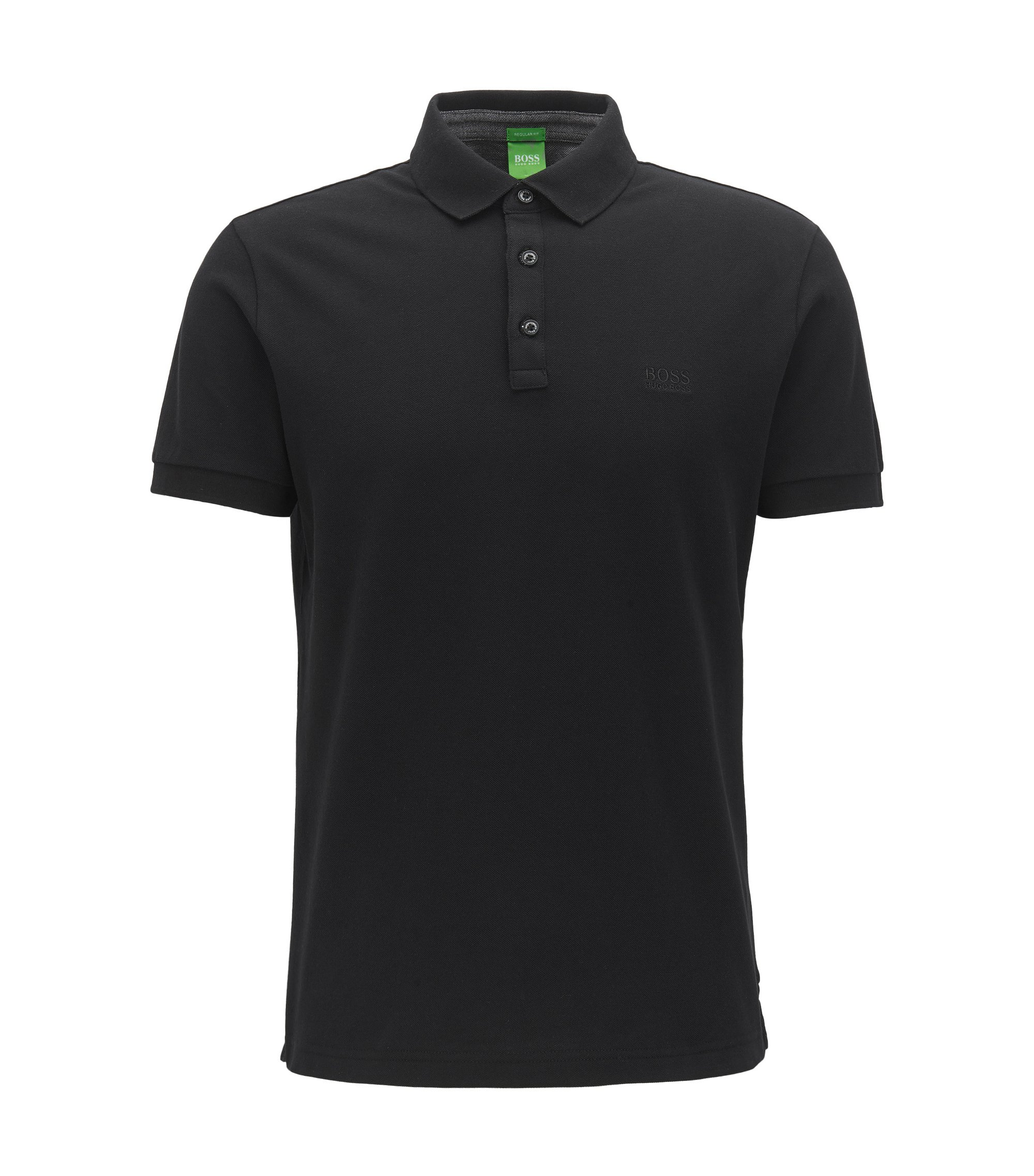 Polo regular fit con dettagli in cotone Oxford a contrasto, Nero