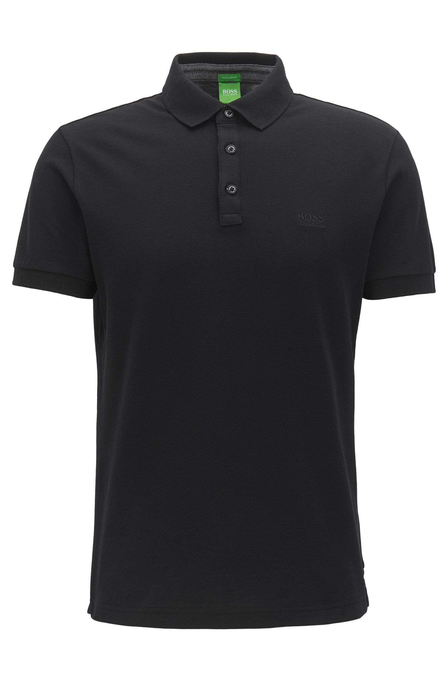 Regular-fit polo shirt with contrast Oxford cotton detailing