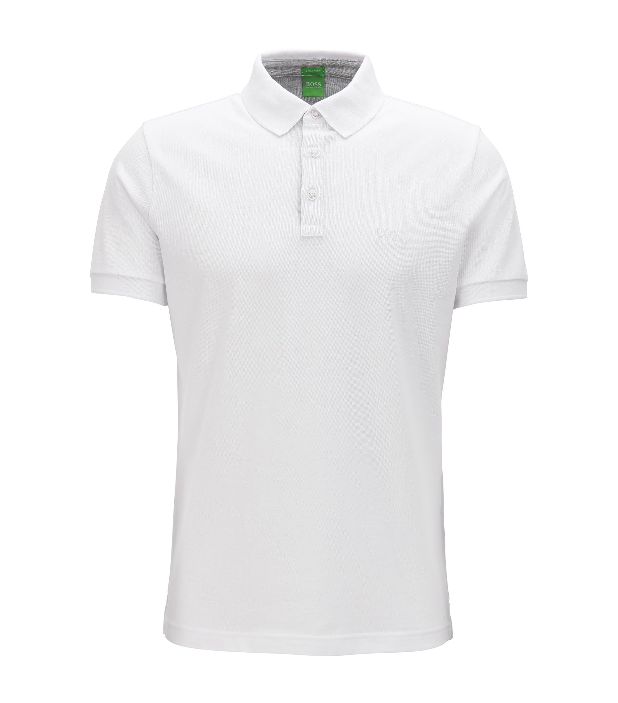 Polo Regular Fit rehaussé de détails contrastants en coton Oxford, Blanc