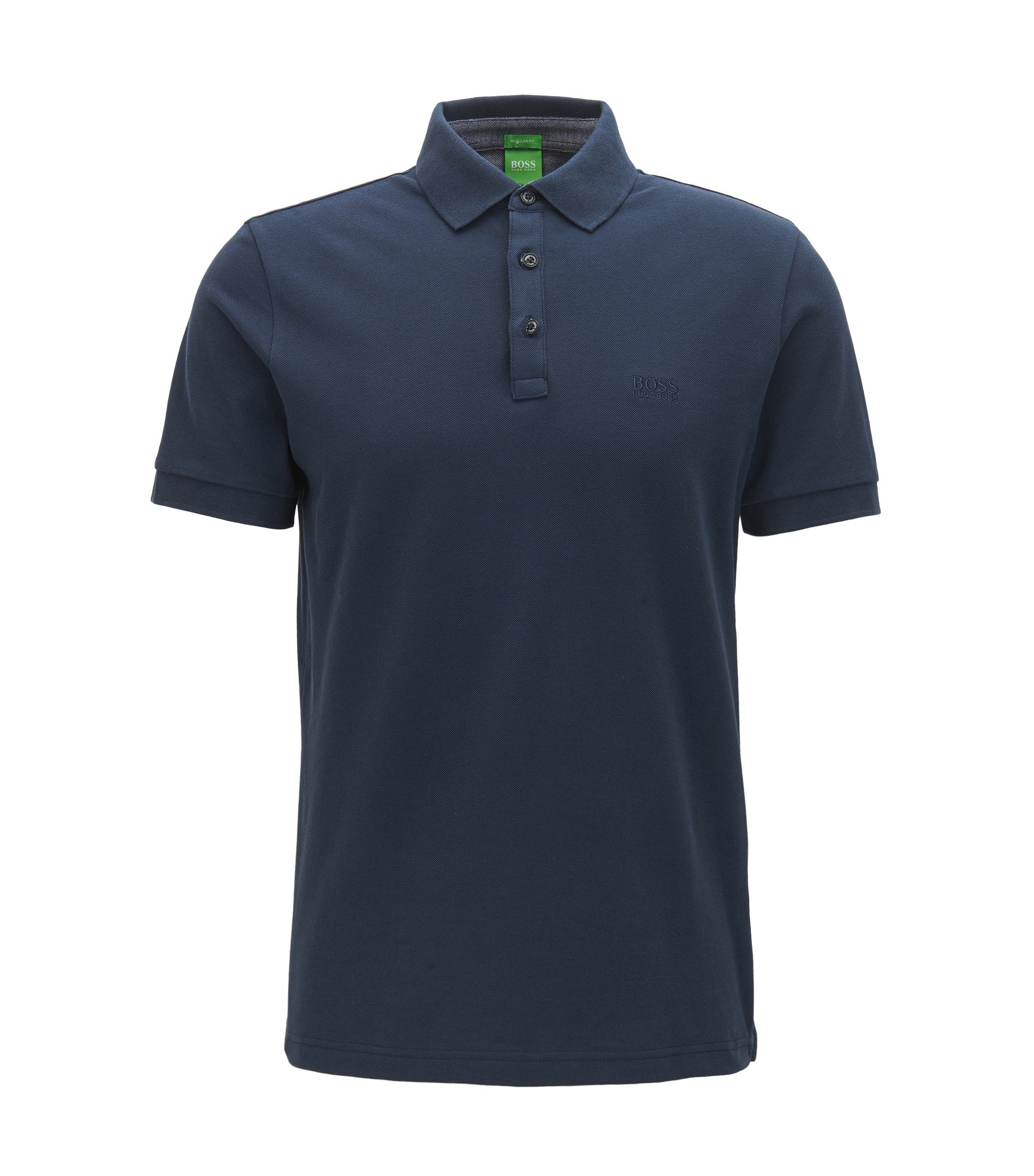 Polo regular fit con dettagli in cotone Oxford a contrasto, Blu scuro