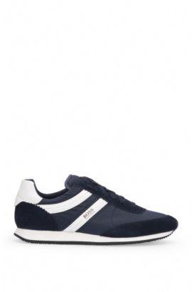 Sneakers in materiali misti con pelle e tessuto: 'Adrenal_Runn_ny', Blu scuro