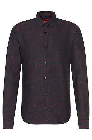 Patterned slim-fit shirt in cotton: 'Ero3', Dark Red