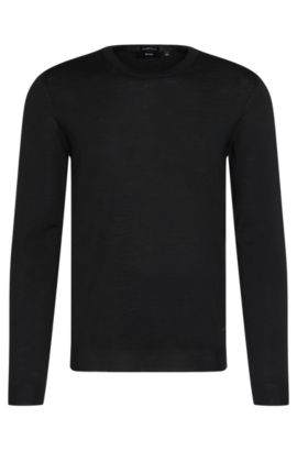 Slim-fit sweater in pure new wool: 'Leno-B', Black