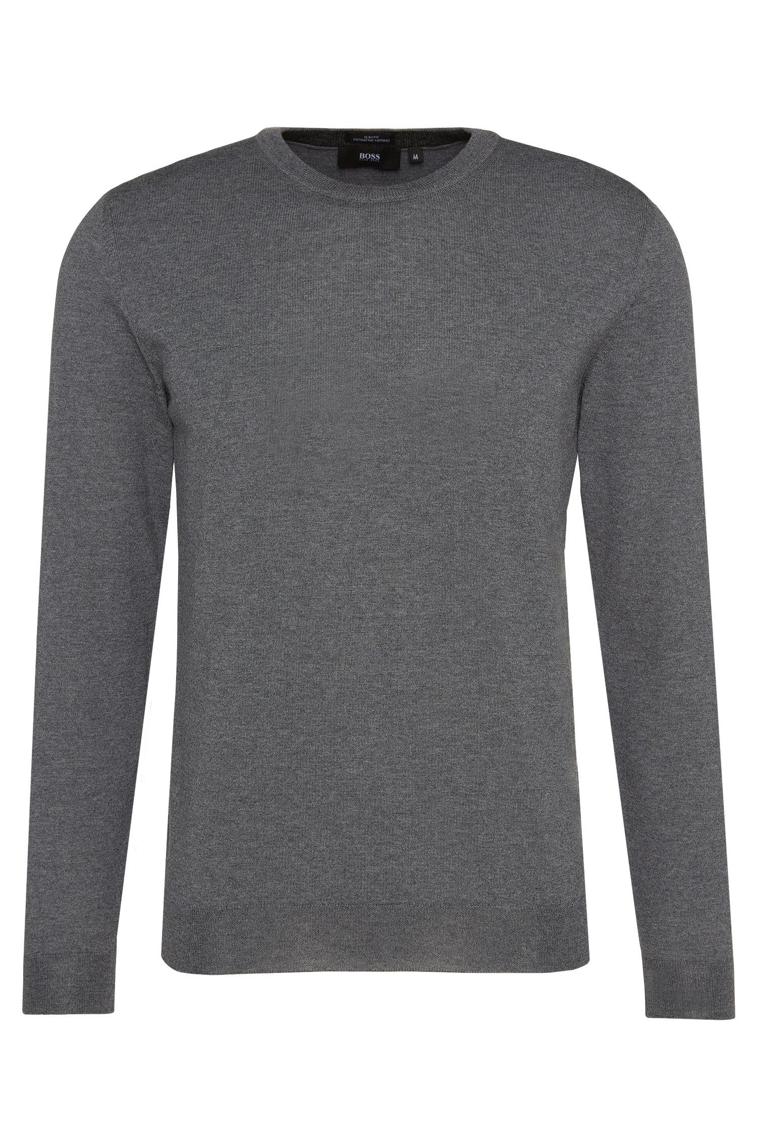 Slim-fit trui van zuivere scheerwol: 'Leno-B'