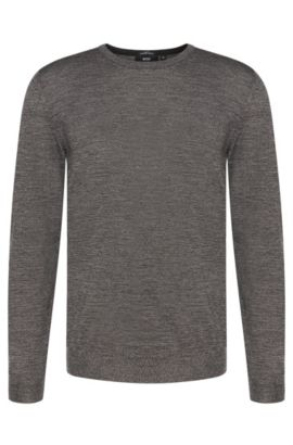 Slim-fit sweater in pure new wool: 'Leno-B', Grey