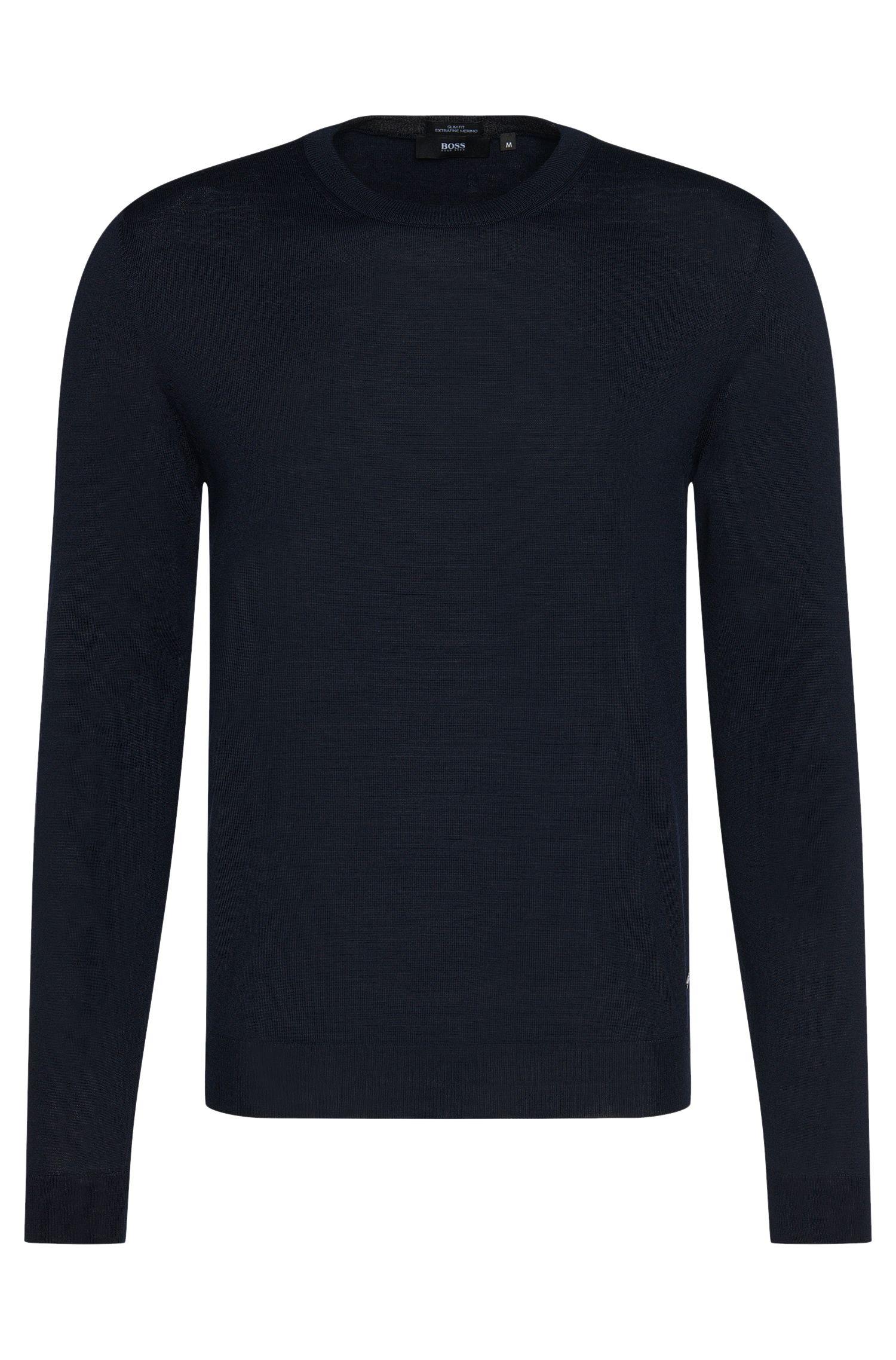 Jersey slim fit en lana virgen pura: 'Leno-B'