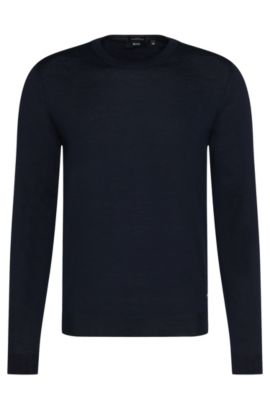 Slim-fit sweater in pure new wool: 'Leno-B', Dark Blue