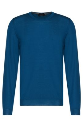 Slim-fit sweater in pure new wool: 'Leno-B', Turquoise