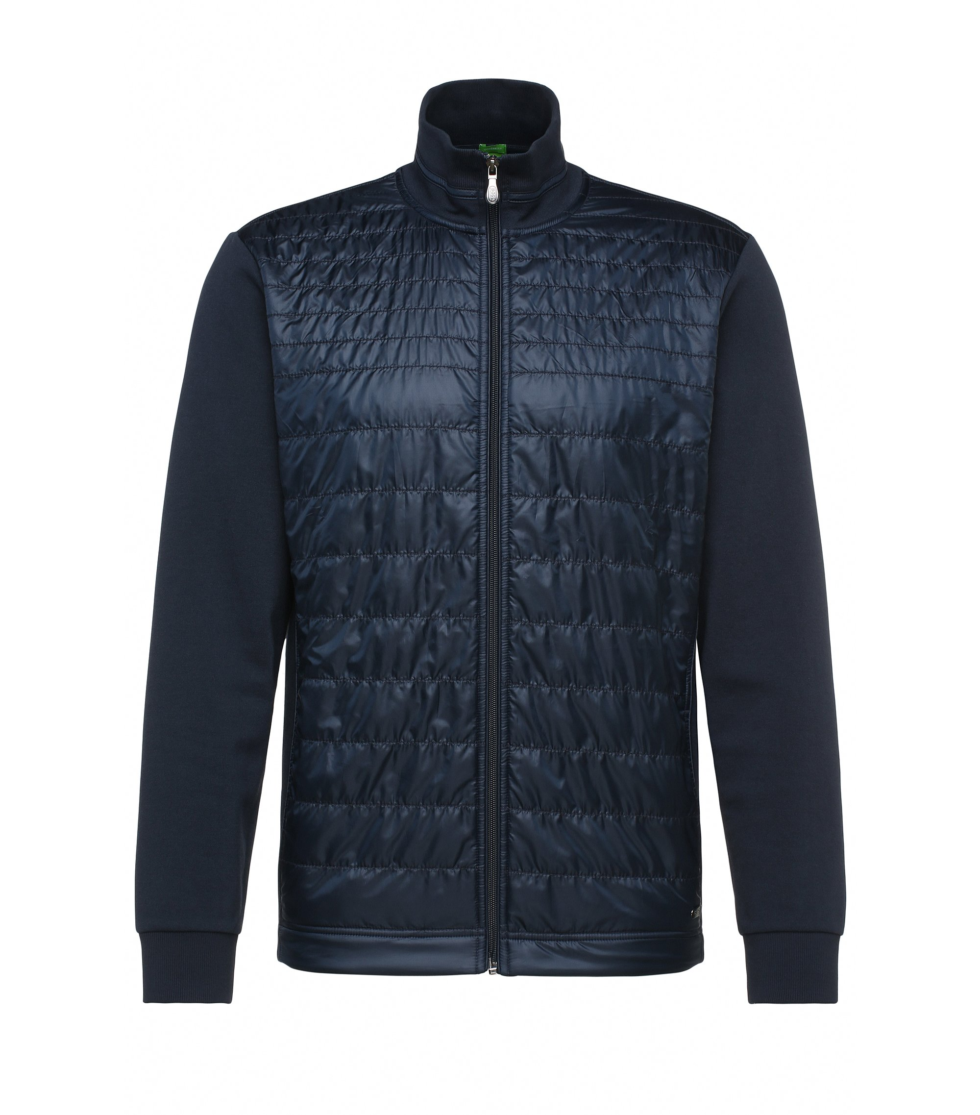 Jersey jacket in stretch cotton blend with quilted front: 'C-Pizzoli', Dark Blue