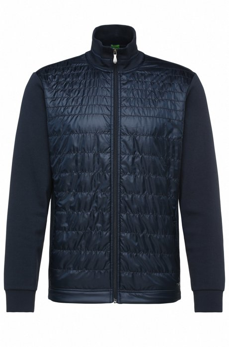 f357e62995 BOSS - Jersey jacket in stretch cotton blend with quilted front: 'C ...