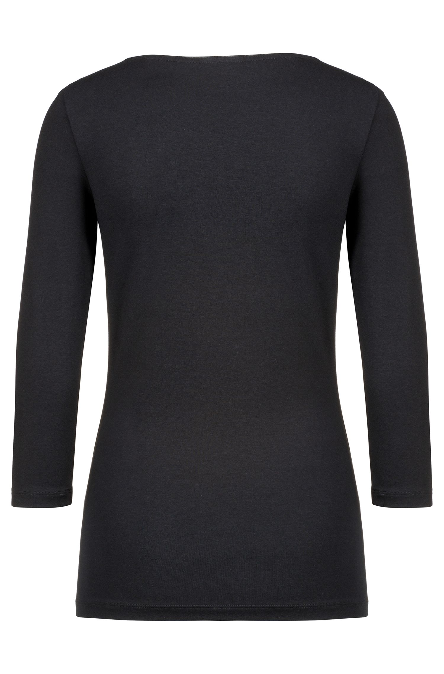 Slim-fit T-shirt van single jersey met boothals