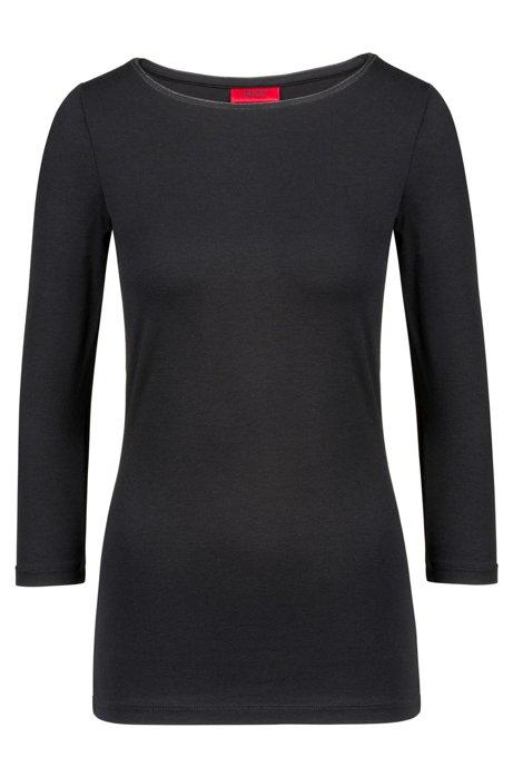 Slim-fit single jersey T-shirt with boat neckline, Black