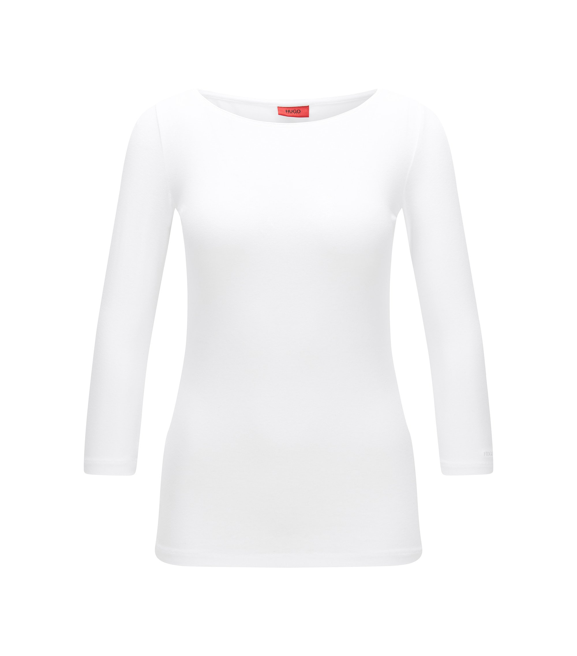 T-shirt Slim Fit en jersey simple, à encolure bateau, Blanc