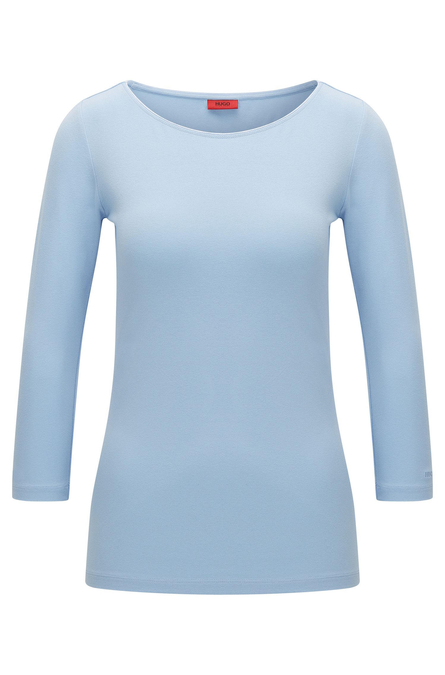 Slim-fit T-shirt van single jersey met boothals van HUGO Woman