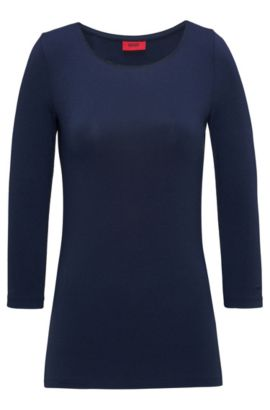 Slim-fit single jersey T-shirt with boat neckline, Dark Blue