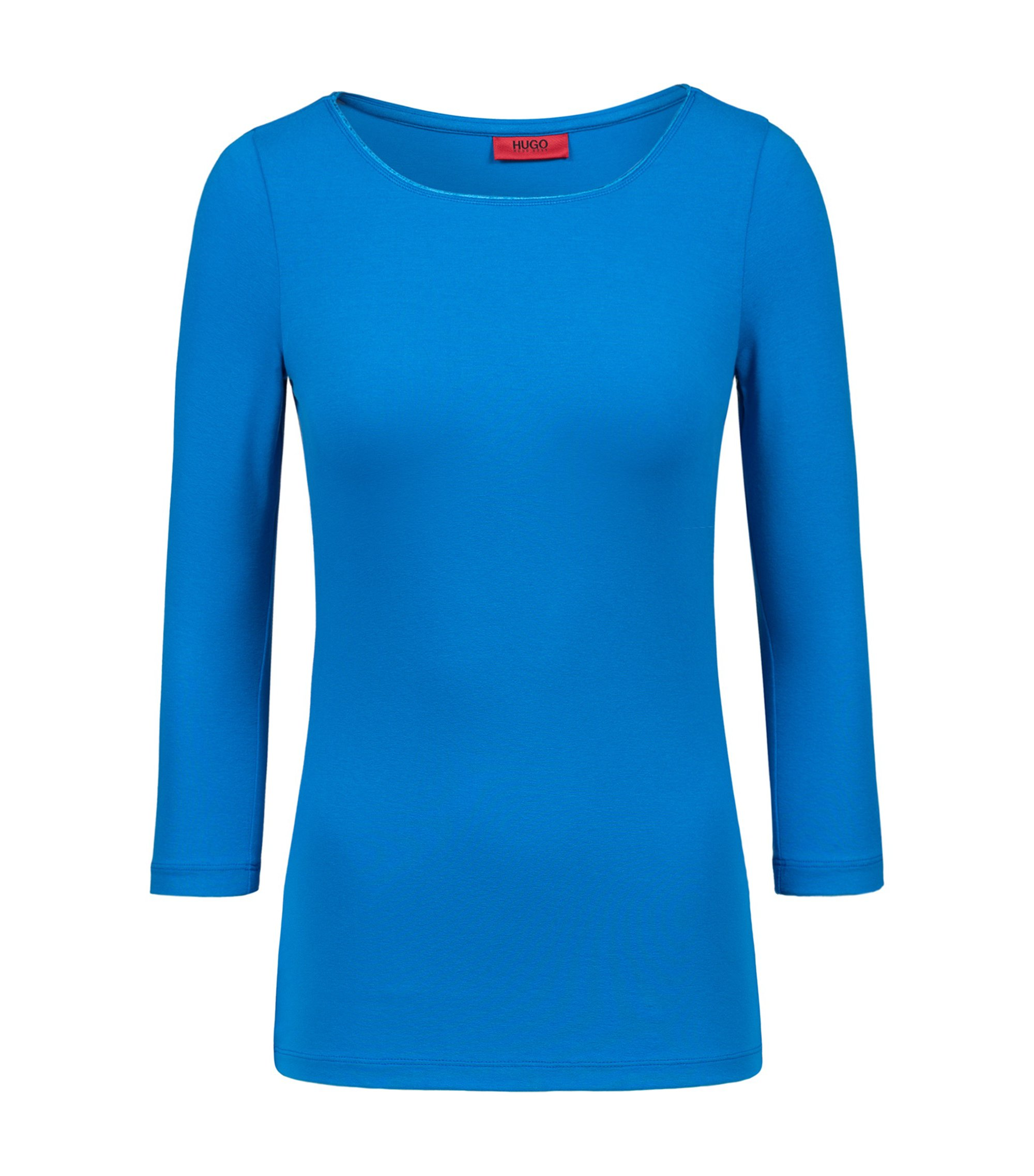Slim-fit T-shirt van single jersey met boothals, Blauw