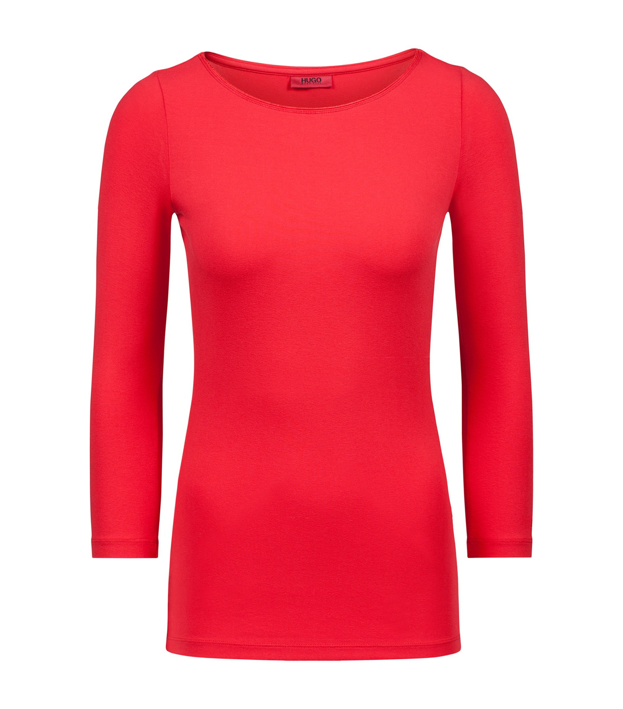 Slim-fit T-shirt van single jersey met boothals, Rood