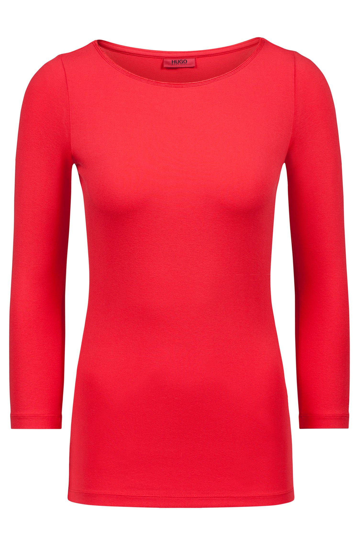 Slim-fit single jersey T-shirt with boat neckline, Red
