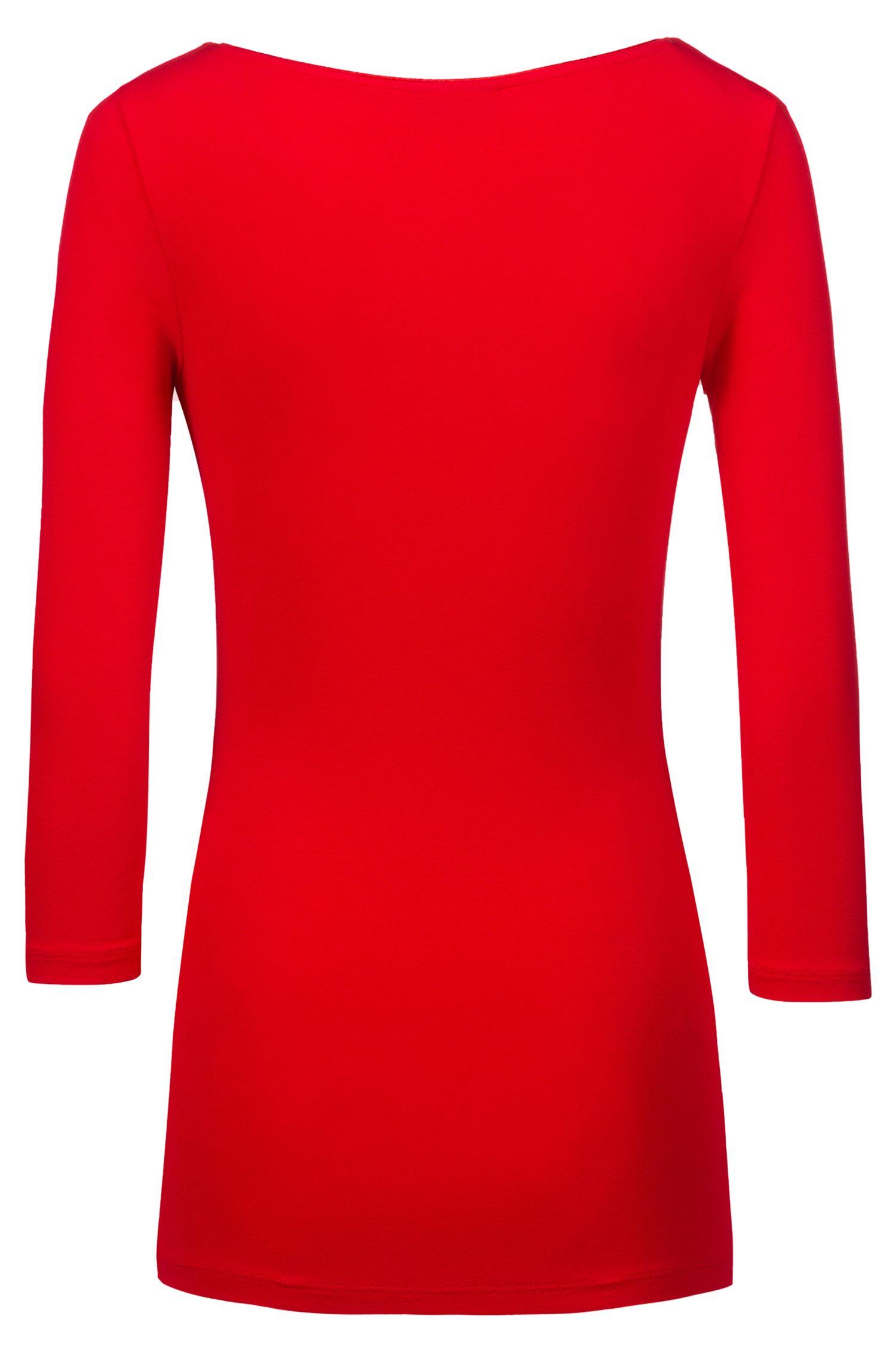 T-shirt Slim Fit en jersey simple, à encolure bateau, Rose clair