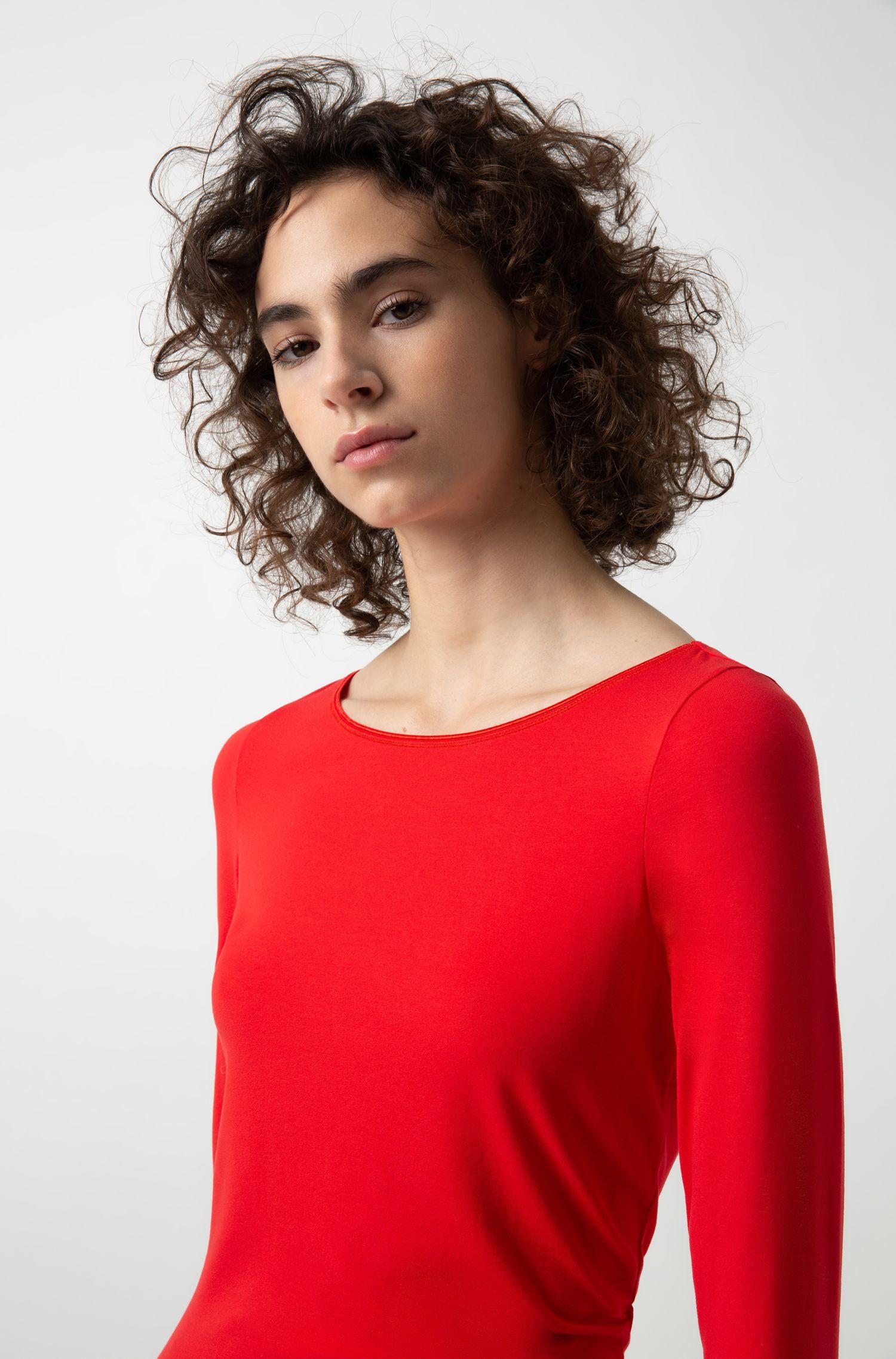 Slim-Fit T-Shirt aus Single Jersey mit U-Boot-Ausschnitt, Hellrosa