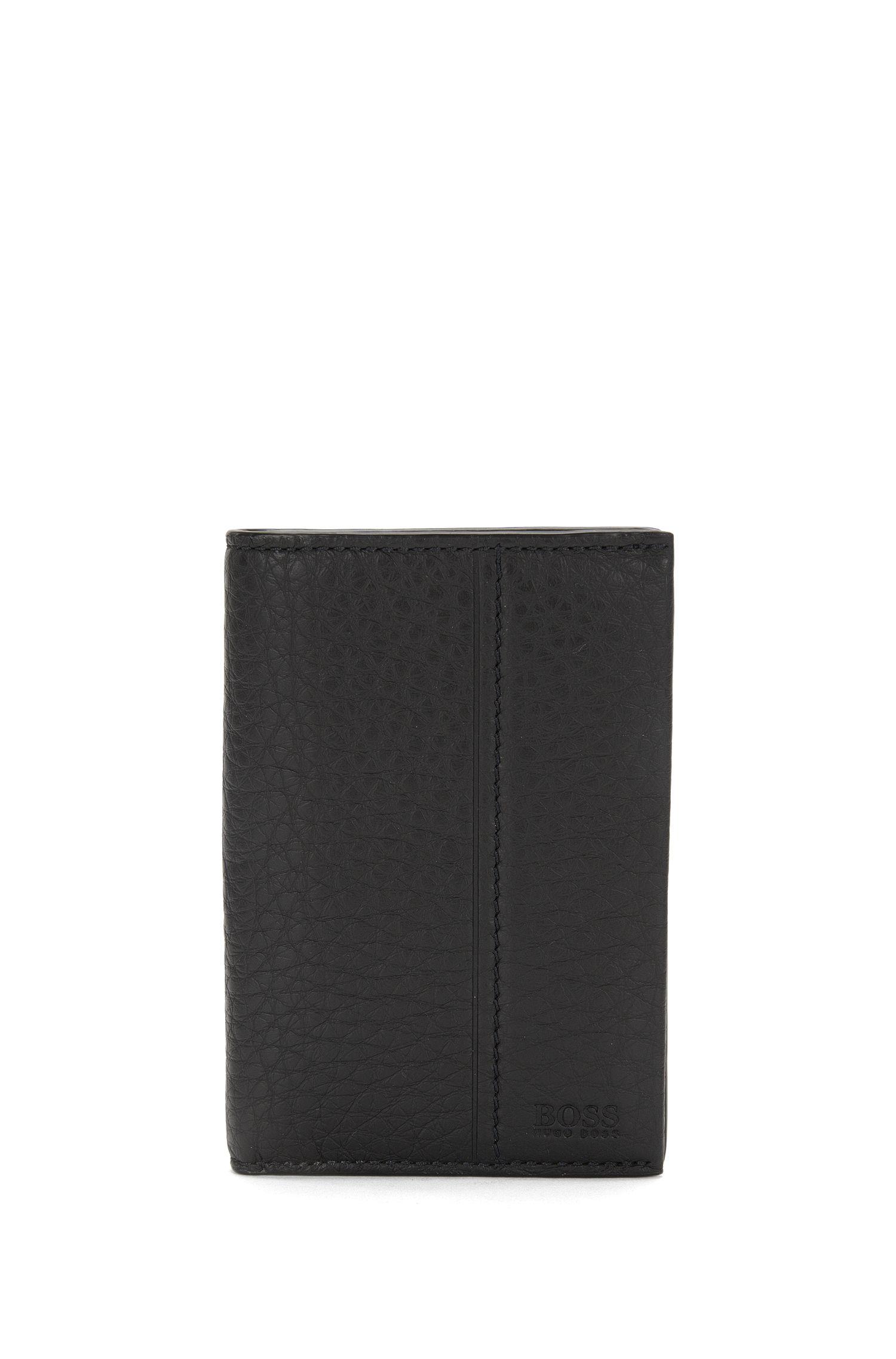 Grand porte-cartes en cuir imprimé: «Traveller_Bifold», Noir